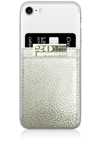 Image of Silver Leather Phone Pocket
