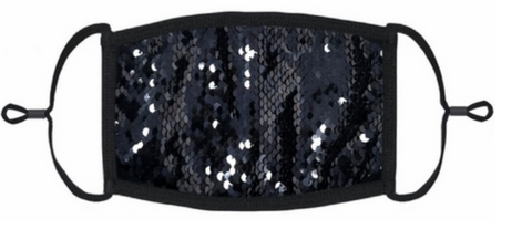 Image of Sequin Face Mask - Black