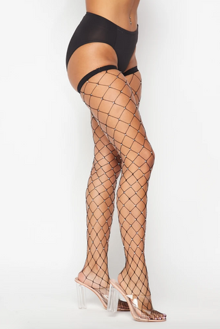 Image of Black Rhinestone Thigh Highs