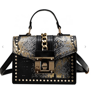 Snakeskin Crossbody Bag - Black