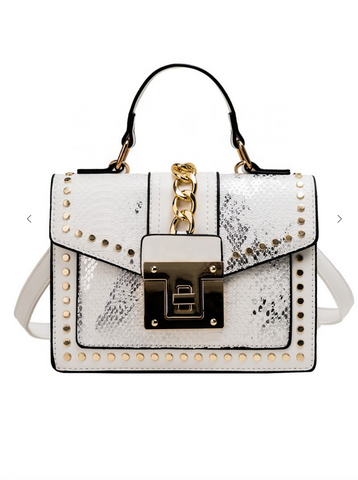 Image of Snakeskin Crossbody Bag - Ivory