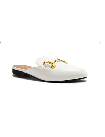 Clara Gold Buckle Mules - White