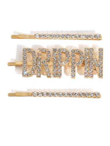 Image of 3-Piece Drippin Rhinestone Clip Set