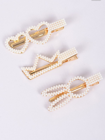 Image of Pearl Shapes Hair Clip Set