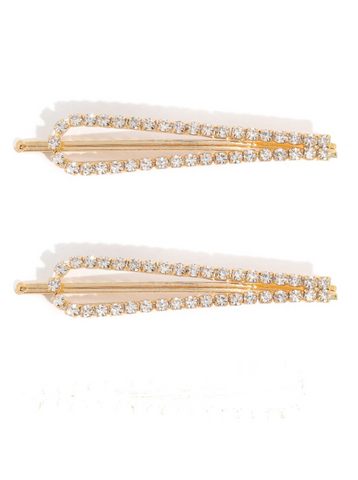 2-Piece Rhinestone Studded Hair Pin