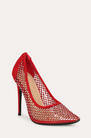 Red Rhinestone Fishnet Heels