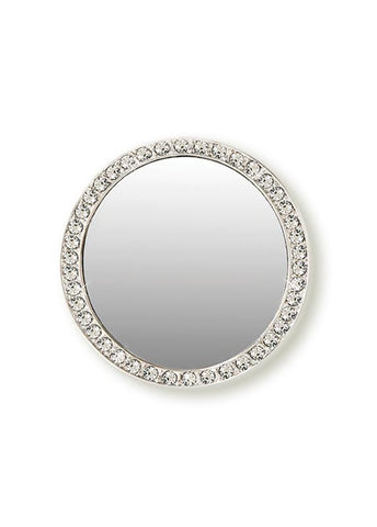 Image of Silver Circle w/ Crystals Phone Mirror