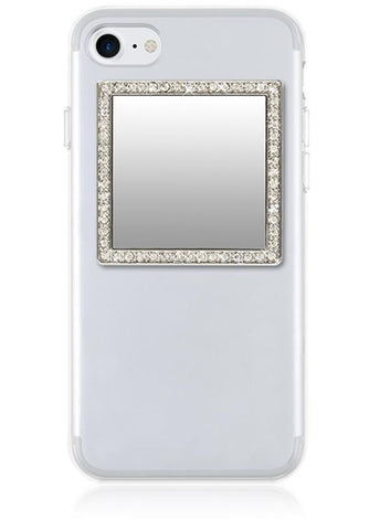 Image of Silver Square w/ Crystals Phone Mirror