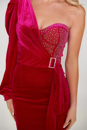 Gianna Velvet Dress - Burgandy