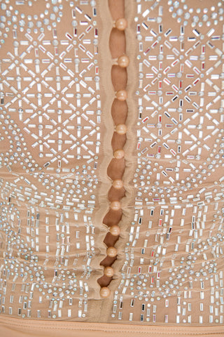Julieta Crystal Bodysuit - Nude