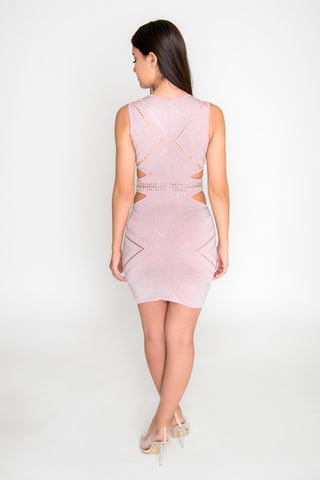 Violet Studded Bodycon Dress