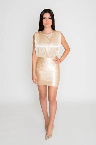 Image of Alivia Satin Dress - Champagne