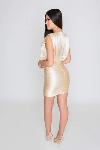 Alivia Satin Dress - Champagne