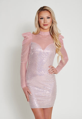 Image of Mila Sequin Mini Dress - Pink