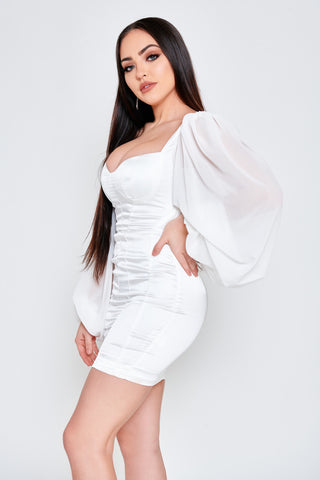 Image of Vivian Satin Dress - White