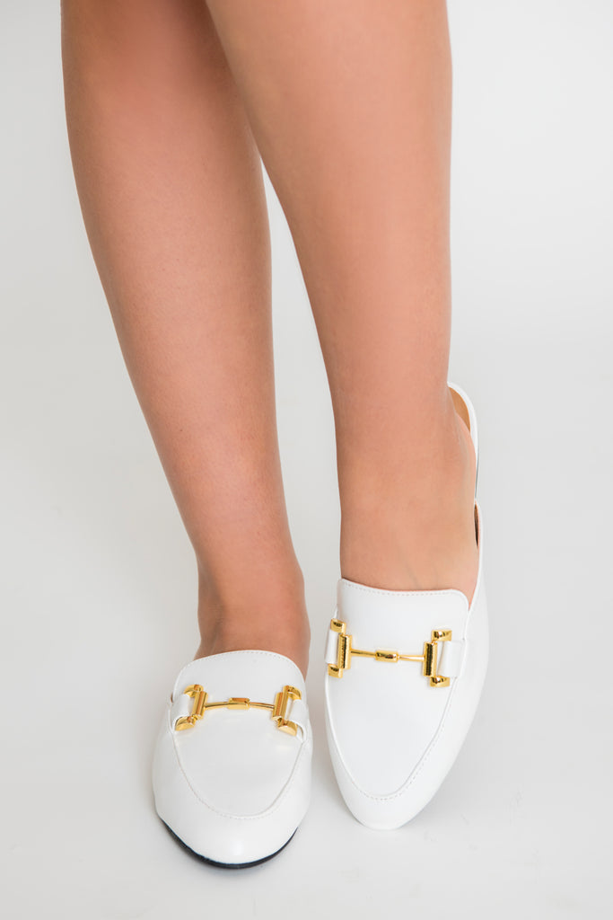 Clara Gold Buckle Mule - White