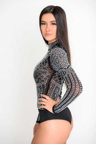 Image of Julieta Crystal Bodysuit - Black