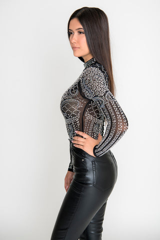 Julieta Crystal Bodysuit - Black