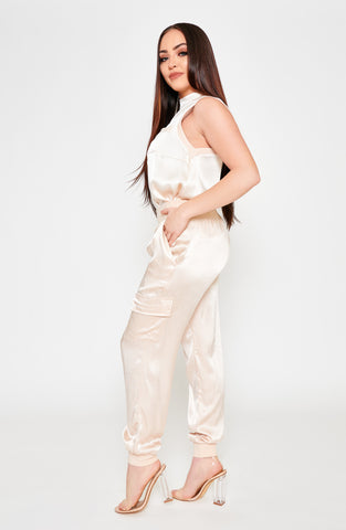 Jodi Satin 2-Piece Jogger Set - Ivory