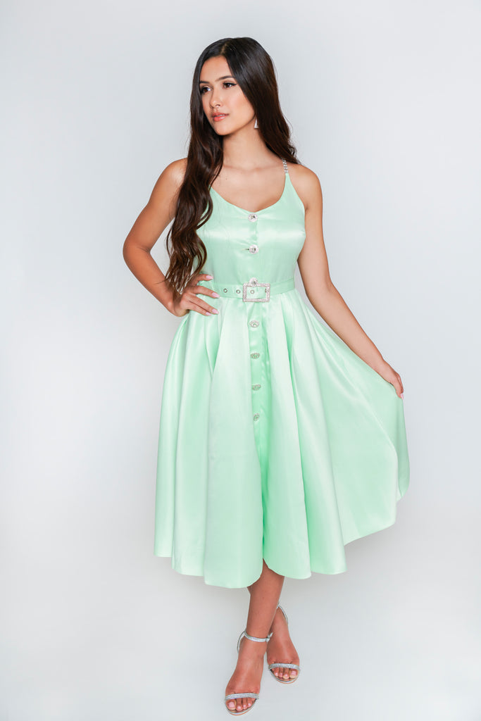 Olivia Rhinestone Midi Dress - Mint