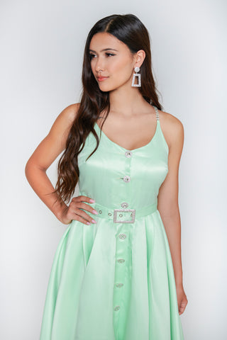 Image of Olivia Rhinestone Midi Dress - Mint