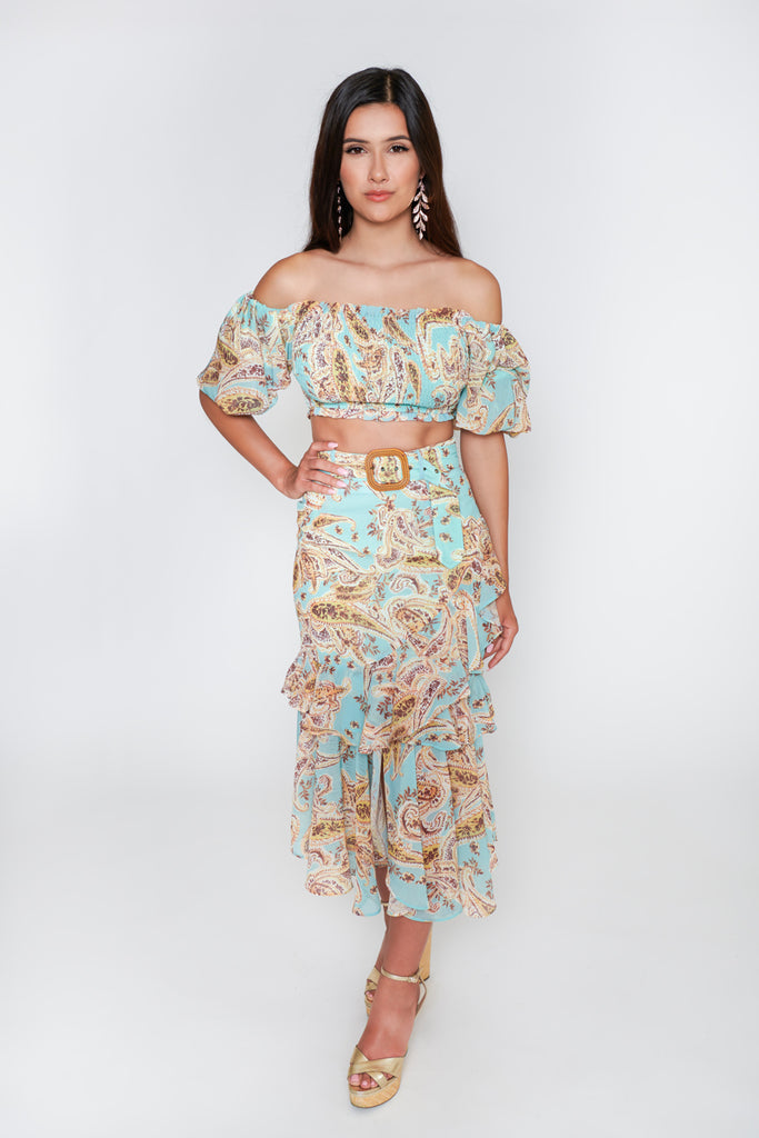 Evelyn Paisley 2-Piece Skirt Set