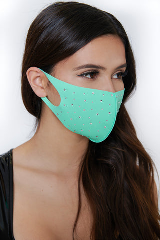 Rhinestone Face Mask - Teal