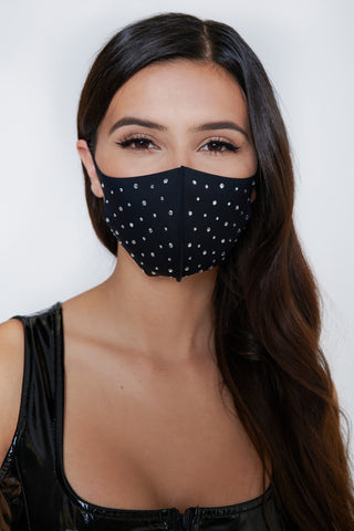Image of Rhinestone Face Mask - Black