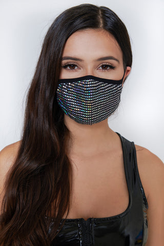 Sequin Face Mask - Black/Iridescent