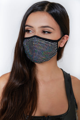 Image of Sequin Face Mask - Black/Iridescent