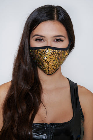 Gold Snakeskin Face Mask