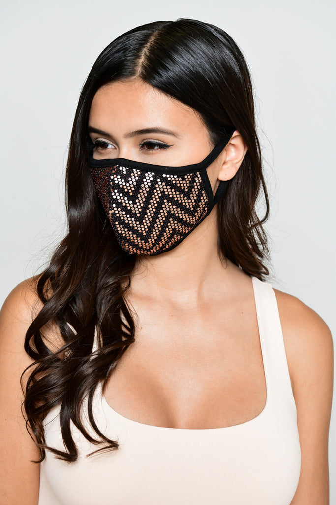 Sequin Zigzag Face Mask - Rose Gold