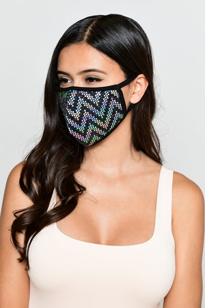 Sequin Zigzag Face Mask - Iridescent