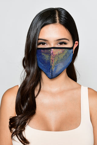 Image of Sequin Face Mask - Dark Iridescent