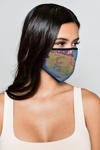 Sequin Face Mask - Dark Iridescent