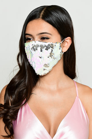 Image of Reversible Sequin Face Mask - Iridescent/Silver