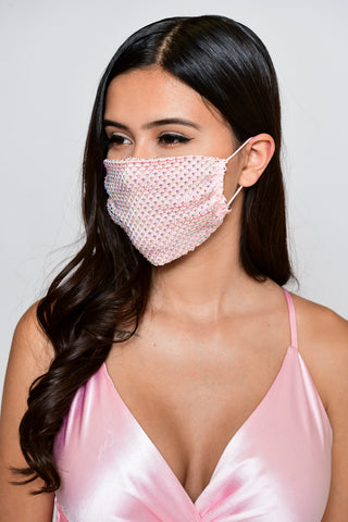 Image of Rhinestone Mesh Face Mask - Pink