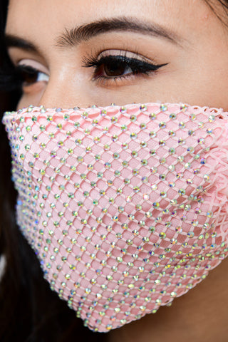 Image of Rhinestone Mesh Face Mask