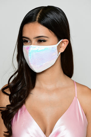 Sequin Face Mask - Iridescent White