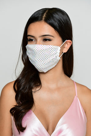 Rhinestone Mesh Face Mask - White