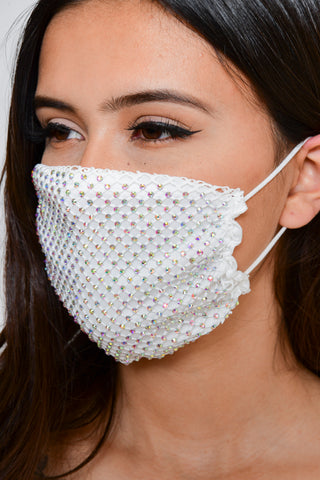 Image of Rhinestone Mesh Face Mask - White