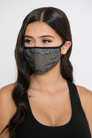 Image of Sequin Face Mask - Black/Silver