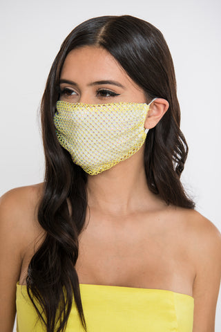 Image of Rhinestone Face Mask - Yellow