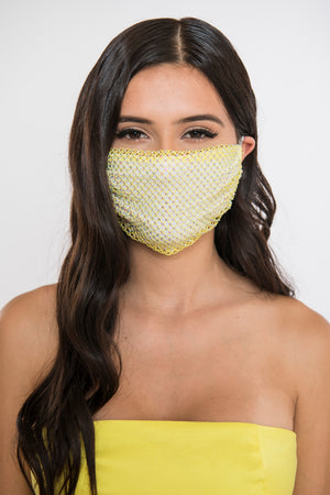 Rhinestone Face Mask - Yellow