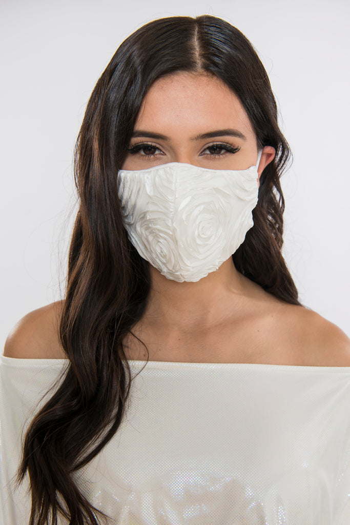 Satin Rose Face Mask - Ivory