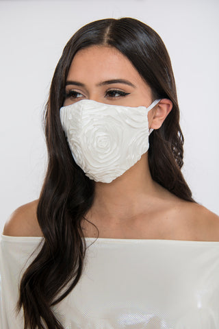Image of Satin Rose Face Mask - Ivory
