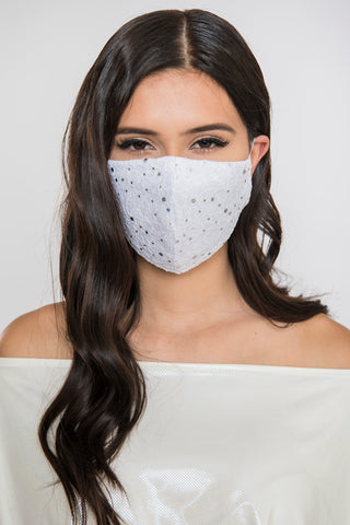 Lace Sequin Face Mask - White
