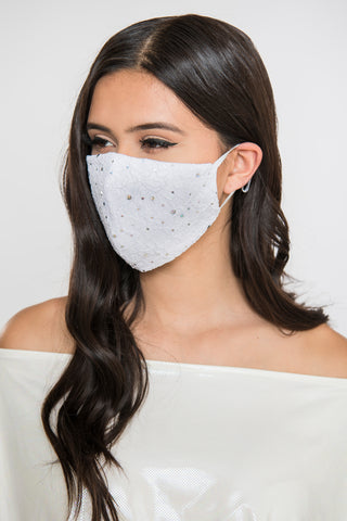 3 layer mask Red Embroidered Leaf Lace Sequin Mask on White Sateen Cotton 100/% cotton face mask