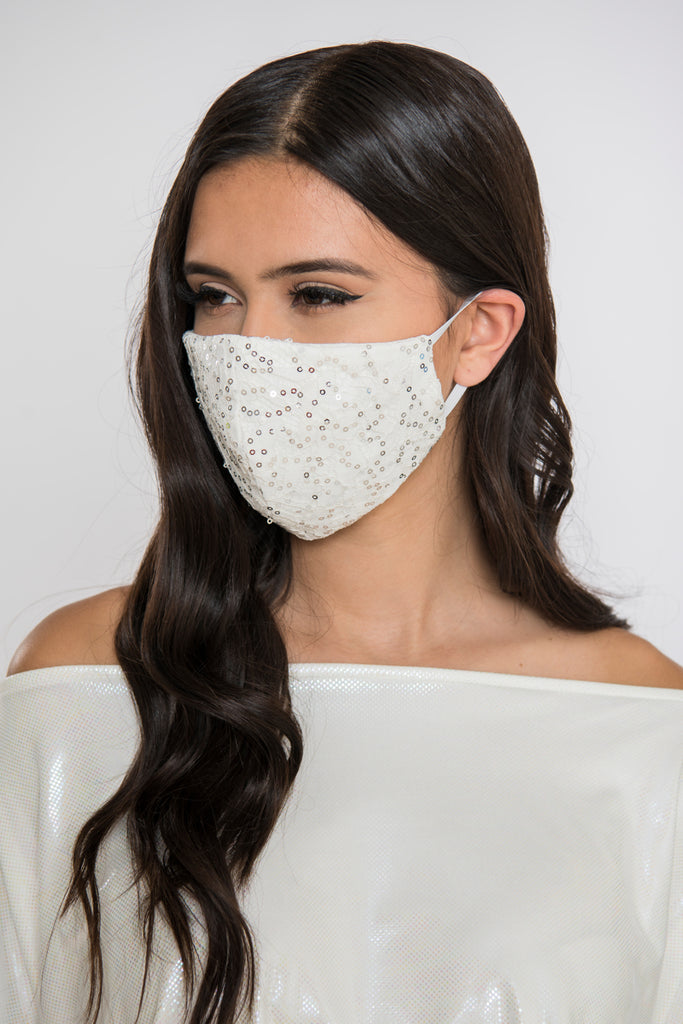 Lace Sequin Face Mask - Ivory