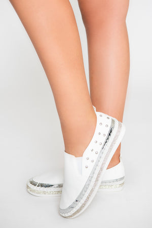 Slip-On Rhinestone Studded Sneakers